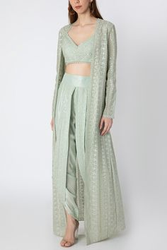 Mint Green Embroidered Bustier With Dhoti Pants & Cape Design by Masaba X Rhea Kapoor at Pernia's Pop Up Shop Dress Indian Style, Indian Fashion Dresses, Indian Outfits, Fashion Outfits, Indian Fashion Designers, Indian Designer Wear, Kurta Designs, Dress Designs, Lehenga