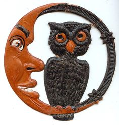 Small Crescent Man in the Moon with Owl Halloween decoration – German 1920s