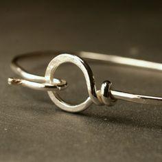 Sterling silver hook and loop bracelet - single bracelet