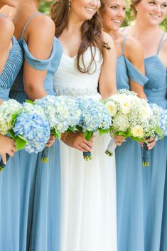 Slate Blue Bridesmaid Dresses at the Barn at Springhouse Gardens in Lexington, Kentucky with Hydrangea Bouquets. See more photos by Kentucky Wedding Photographer Kevin and Anna Photography at Hydrangea Bridesmaid Bouquet, Slate Blue Bridesmaid Dresses, Wedding Bridesmaid Bouquets, Hydrangea Bouquet Wedding, Blue Bridesmaids, Wedding Dresses, Flower Bouquets, Bridal Bouquets, Wedding Flower Guide