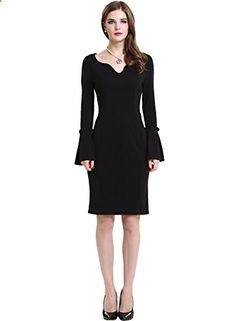 Darshion Women's Long Cap Sleeve Fitted Black Wear to Work Office Dress Small Black  Go to the website to read more description.