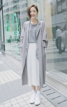 Grey Coat Korean Fashion Outfit
