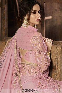 Pink With Multi Embroidered Pallu Traditional Saree Kerala Wedding Saree, Saree Wedding, Blouse Designs Silk, Saree Blouse Patterns, Half Saree Lehenga, Lehenga Blouse, Indische Sarees, Saree Sale, Party Wear Lehenga