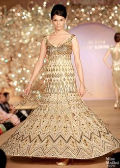 Gold anarkali. Abu Jani and Sandeep Khosla presents The Golden Peacock Collection.