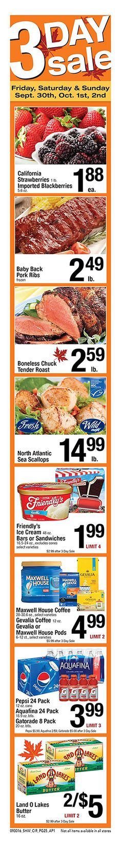 Shaws 3 Day Sale September 30 - October 2, 2016 - http://www.olcatalog.com/grocery/shaws-3-day-sale.html