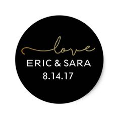 Black and Gold Wedding Favor Stickers. Click through to find matching games, favors, thank you cards, inserts, decor, and more. Or shop our 1000+ designs for all of life's journeys. Weddings, birthdays, new babies, anniversaries, and more. Only at Aesthetic Journeys