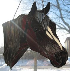 Hand Crafed Stained Glass Horse Head