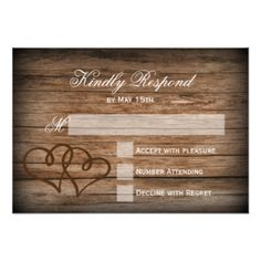 "Rustic Double Hearts Wood Wedding RSVP Cards 3.5"" X 5"" Invitation Card"