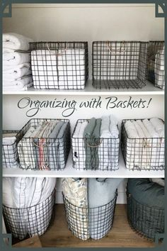 Organizing with Baskets! Creative storage solutions for small spaces - use baskets to organize all the c Organizing with Baskets! Creative storage solutions for small spaces - use baskets to organize all the clutter! Diy Organisation, Linen Closet Organization, Closet Storage, Organization Ideas For The Home, Basket Organization, Airing Cupboard, Linen Cupboard, Laundry Room Baskets, Home Organization Tips