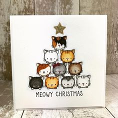 MEOWY CHRISTMAS I made my own🎄 with the Cool cats stamp set from My Favorite Things . Christmas Cards Drawing, Cat Christmas Cards, Christmas Night, Christmas Wood, Illustration Noel, Card Drawing, Cat Cards, Watercolor Cards, Cool Cats