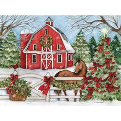 Premium Thick-Wrap Canvas entitled Winter Barn with Horse. This winter barn scene with horse evokes a country Christmas. Our proprietary canvas provides a classic and distinctive texture. It is acid free and specially developed for our giclee print p Boxed Christmas Cards, Christmas Scenes, Christmas Pictures, Christmas Art, Christmas Decorations, Christmas Ornaments, Christmas Wall Art Canvas, Christmas Lights, Painted Christmas Cards