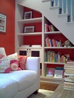 under staircase storage ideas-I love the idea of the bookshelves. under staircase storage ideas-I love the idea of the bookshelves. Shelves Under Stairs, Space Under Stairs, Staircase Storage, Stair Storage, Wall Shelves, Stair Shelves, Book Shelves, Basement Storage, Storage Shelves