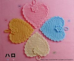 Free crochet pattern for heart crochet coasters. More Great Looks Like This