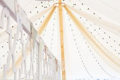 Beautiful drapes in the Oyster Pearl tent