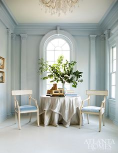 Powder blue walls. A soft, sophisticated space
