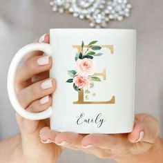 Personalized Initial Mug Custom Coffee Mug Best Friends Monogram Mugs Gift for Coffee Lover Custom Gold Floral Mug GirlFriend Gift Idea Customised Mugs, Custom Mugs, Coffee Lover Gifts, Coffee Lovers, Name Mugs, Letter Mugs, Romantic Candles, Romantic Gifts, Personalized Coffee Mugs