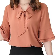 women chiffon blouse on sale at reasonable prices, buy Mara Alee Womens chiffon blouses white shirts pink yellow bell sleeve ladies short sleeve blouses summer tops blusas from mobile site on Aliexpress Now! Top Fashion, Women's Summer Fashion, Blouse Styles, Blouse Designs, Trendy Dresses, Short Dresses, Casual Skirt Outfits, Summer Outfits, Short Tops