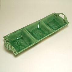 Glazed stoneware 3 compartment tray platter by CathyGreenPottery
