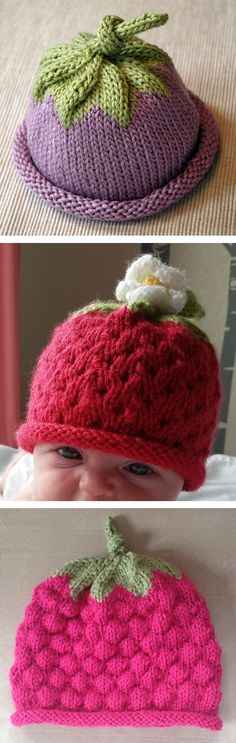 Free Knitting Pattern for Berry Baby Hat - Popular baby hat with a rolled brim to fit as baby grows. Original (top) designed byMichele Sabatier. Strawberry variation(center) with eyelet stitch and flower byankusyj.Raspberry variationwith bubble stitch (bottom) bytatankagirl