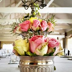 Flower arrangements in ornate silver rose bowls for a wedding reception at Bellwood Estate outside Nottingham Road, Midlands KZN. Trendy Wedding, Diy Wedding, Rustic Wedding, Garden Wedding, Wedding Hairstyles With Veil, Creative Wedding Ideas, Wedding Reception Decorations, Silver Roses, Flower Crown