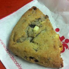 White chocolate chip and raspberry scone... Yum!!