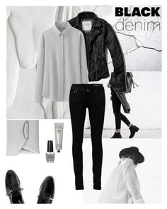 """Black Denim"" by nmkratz ❤ liked on Polyvore featuring Dear Frances, Givenchy, Bobbi Brown Cosmetics, Abercrombie & Fitch, Uniqlo, Yves Saint Laurent, OPI, women's clothing, women's fashion and women"