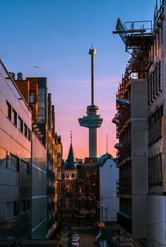 admires this beauty captured by Sensational composition with the Euromast embraced with the most beautiful soft toned… World Cities, Best Cities, Rotterdam Netherlands, Paradise On Earth, Beautiful Dream, Ocean City, Cn Tower, Holland, Amsterdam