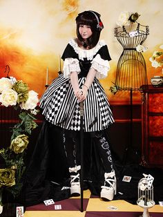 Sweet Black Alice Metal Details Cotton Lolita Dress