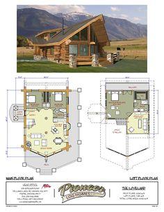 Loveland Pioneer Log Homes Midwest Barn House Barndominium Log Cabin Floor Plans, Cabin House Plans, Log Cabin Homes, Dream House Plans, Small House Plans, House Floor Plans, Floor Plan With Loft, A Frame Floor Plans, Small Log Cabin Plans