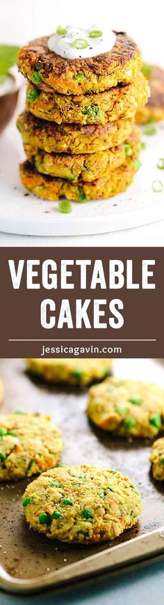 Indian-Spiced Vegetable Cakes with Chickpeas - Each fritter is packed with bold flavor and wholesome ingredients in each bite! Served with a creamy mint yogurt sauce. | jessicagavin.com