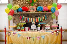 Love the colorful ribbon garland in this sweet birthday party! #kidsparty #partydecor