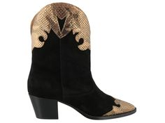 Paris Texas Texano Ankle Boots In Black Suede Ankle Boots, Black Ankle Boots, Heeled Boots, Paris Texas, Velour Fabric, Python Print, Metallic Leather, Heels, Snake