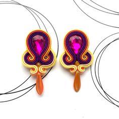 Clip On Earrings, Dangle Multicolor Earrings, Rainbow Earrings, Medium Soutache Earrings, Soutache Jewelry, Womens Gift, Stud Earrings by AvennaJewelry on Etsy