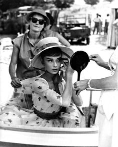 Audrey Hepburn getting ready on the set of Paris When It Sizzles