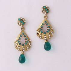 Green Stone Pleasing Diamond Earring By Variation