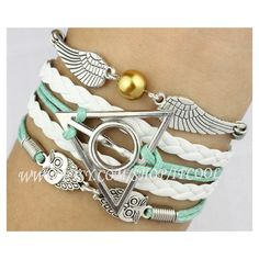 Silver Harry Potter Snitch,Deathly Hallows & Owls Charm Bracele,Harry... ($5.99) ❤ liked on Polyvore featuring jewelry, bracelets, harry potter, jewels, silver jewelry, woven leather bracelet, owl jewelry, braided silver bracelet and woven bracelet