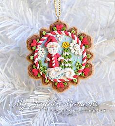 Handcrafted Polymer Clay Christmas Santa Scene Ornament