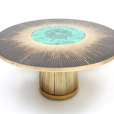 Malachite and brass dining table by Dessauvages - Decorative Collective