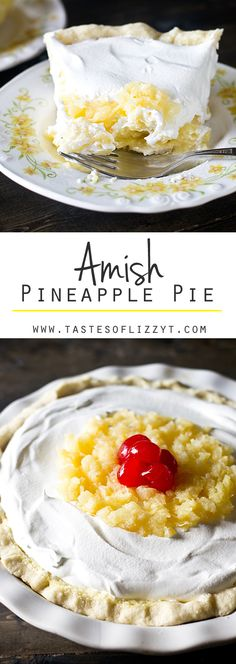 AMISH PINEAPPLE PIE on MyRecipeMagic.com. A unique pie recipe from an old Amish cookbook. This Amish Pineapple Pie is a creamy, cool sweet treat that won't heat up your kitchen.