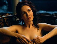 Melisandre played by Carice Van Houten takes a bath