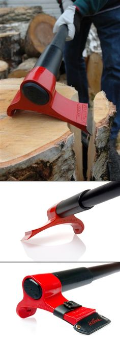 Finnish inventor rethinks design of the axe - kinetic energy to rotational motion, thus allowing more efficient, better controlled splitting of firewood. Woodworking Projects Plans, Teds Woodworking, Small Summer House, Log Splitter, Tool Room, Precision Tools, Milwaukee Tools, Wood Tools, Survival Tools