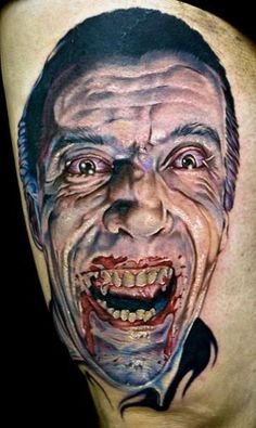 Christopher Lee Dracula Tattoo by Cecil Porter Dracula Tattoo, Cool Tattoos, Amazing Tattoos, Body Modifications, Body Mods, Horror Tattoos, Great Artists, Tattoo Photos, Art Forms
