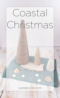 Christmas by the Beach. Handmade Coastal Christmas ideas, organic style with shells, stars, hessian, paper, seagrass string and calico. via @Delphine LesterLost