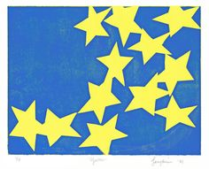 Vintage 1984 Screen Print Star Print / Star Screenprint Silk Screen/  Art Stars / Yellow Blue / Your Choice of One Reproduction Print by AndWorksWithHerHands on Etsy