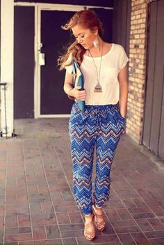 Tapered printed pants with tucked in top