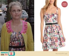 Carrie's shoe print dress on The Carrie Diaries. Outfit Details: http://wornontv.net/23910 #TheCarrieDiaries #EvaFranco