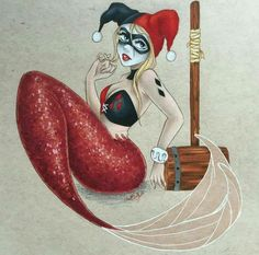 My most recent commission, a Harley Quinn mermaid. Der Joker, Harley Quinn Cosplay, Joker And Harley Quinn, Chibi, Card Captor, Gotham Girls, Batman, Mermaids And Mermen, Fantasy Mermaids