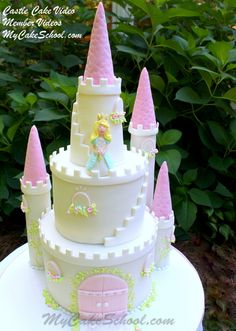Learn to make a beautiful fairytale castle cake on MyCakeSchool.com!  This is available in our member video library.