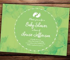 Printable Baby Shower Invitation  Green by SixDaysCreations