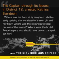 Bree Despain on the Hunger Games trilogy, from THE GIRL WHO WAS ON FIRE #YAbooks #quotes #HungerGames #TheHungerGames #CatchingFire #GWWoFQuotes #TheGirlWhoWasonFire #BreeDespain
